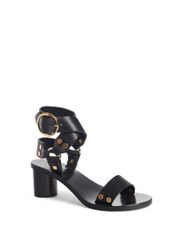 feb42c40a32 Women s Black Leather Heeled Sandals by Isabel Marant