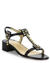 Christian Louboutin Kaleidra 25 Studded Leather Block Heel Sandals