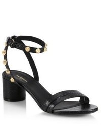 Balenciaga Leather Block Heel Studded Sandals