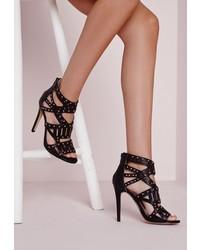 Missguided Laser Cut Stud Detail Heeled Sandals Black