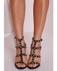 Missguided Studded Heeled Gladiator Sandals Black