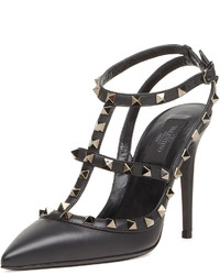 Valentino Noir Rockstud Leather Slingback Black