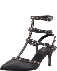 Valentino Rockstud Leather Low Heel Slingback Black