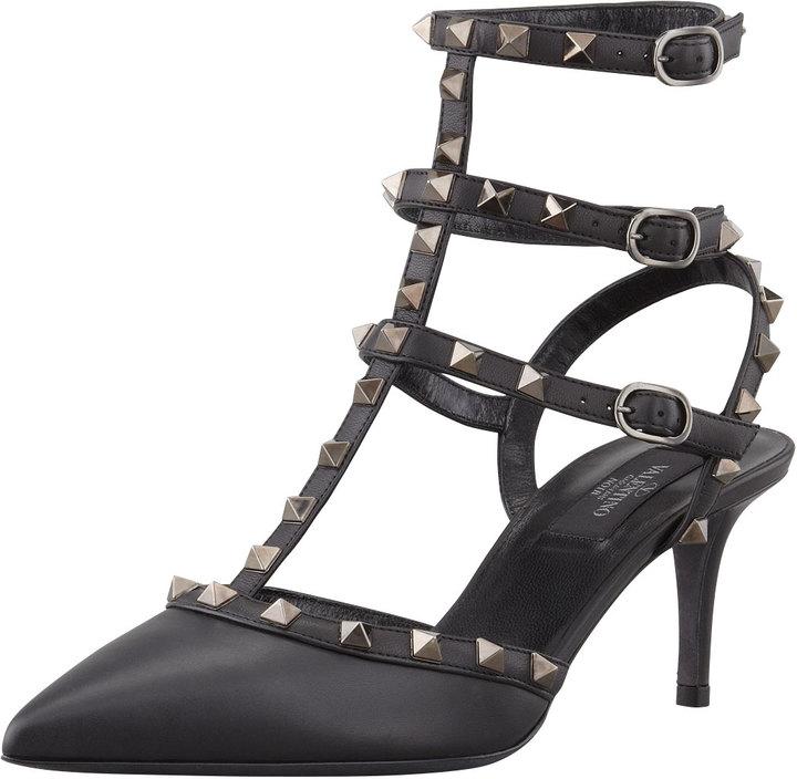 999c6e9914e9 Rockstud Leather Low Heel Slingback Black. Black Studded Leather Heeled  Sandals by Valentino