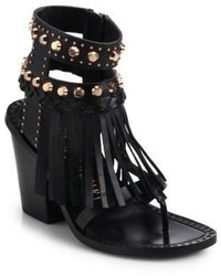 Ivy Kirzhner Studded Fringe Leather Sandals
