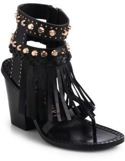 Ivy Kirzhner Studded Fringe Leather Sandals