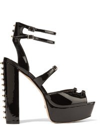 Schutz Studded Patent Leather Platform Sandals