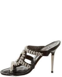Manolo Blahnik Studded Slide Sandals