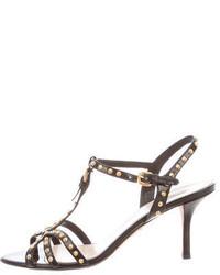 Prada Studded T Strap Sandals