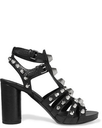 Balenciaga Studded Textured Leather Sandals Black