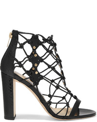 Jimmy Choo Tickle Studded Leather And Elaphe Sandals Black