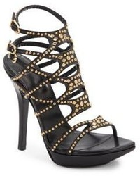 Versace Strappy Studded Leather Platform Sandals