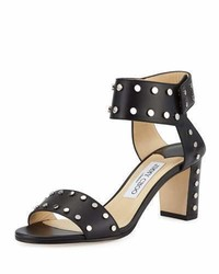 Jimmy Choo Veto Studded Leather 65mm Sandal Blacksilver