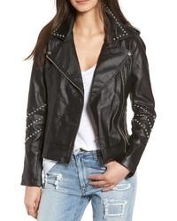 BB Dakota Jerilyn Studded Washed Faux Leather Jacket