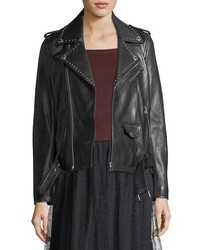 RED Valentino Redvalentino Studded Lambskin Leather Jacket