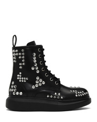 Alexander McQueen Black Studded Hybrid Lace Up Boots