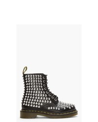Dr. Martens Black Leather Studded 8 Eye Boots