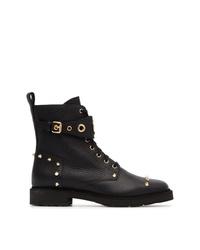 Fendi Lace Up Logo Ankle Boots