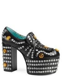 Gucci Amilna Crystal Studded Leather Platform Loafers