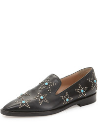 Valentino Star Cabochon Leather Loafer Blackturquoise