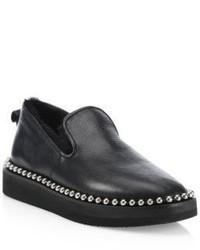Alexander Wang Tedi Shearling Tumbled Leather Platform Loafers