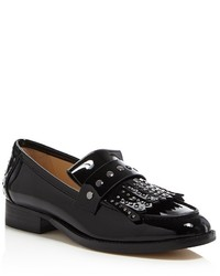Botkier Victoria Studded Patent Leather Kiltie Fringe Loafers 100%