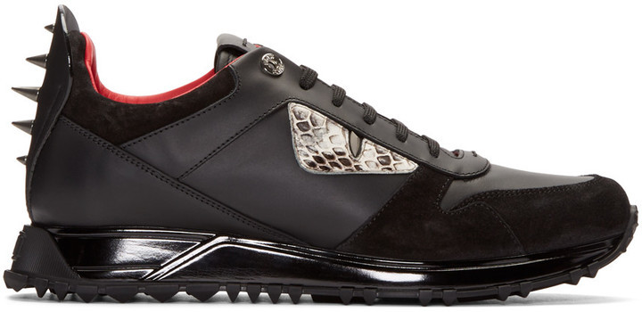 d0e1e3855fba Fendi Black Monster Eyes Sneakers,  900   SSENSE   Lookastic.com