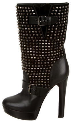 buy popular 7b234 c1be5 $895, Christian Louboutin Marisa Studded Mid Calf Boots