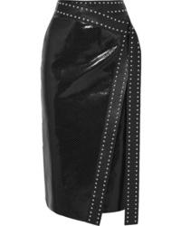 Alexander McQueen Studded Snake Effect Leather Wrap Midi Skirt