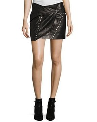 IRO Mupper Studded Leather Wrap Mini Skirt