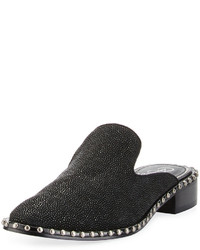 Adrianna Papell Pam Studded Leather Loafer Mule Blacl