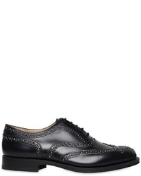 Black Studded Leather Oxford Shoes