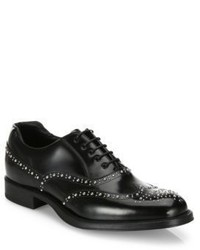 Prada Studded Leather Wingtip Oxfords