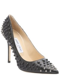 Jimmy Choo Black And Silver Abel Dome Studded Stiletto Pumps