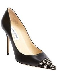 Jimmy Choo Black Leather Amika Studded Pointed Toe Heels