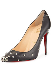 Christian Louboutin Degraspike Studded Leather Red Sole Pump Blacksilver