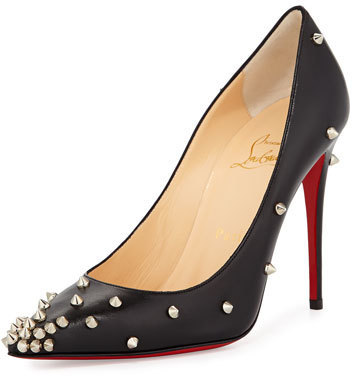 Christian Louboutin Degraspike Studded Point Toe Red Sole Pump Black