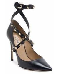 Valentino Garavani Studwrap Leather Ankle Strap Pumps