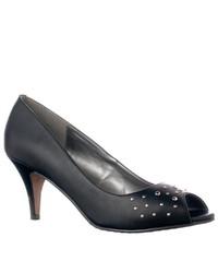 Riverberry M7498 Studded Peep Toe Pumps Black Wet Size 65