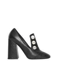 Burberry Stud Detail Leather Block Heel Pumps