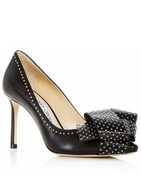 Jimmy Choo Tegan 85 Studded Leather High Heel Pointed Toe Pumps