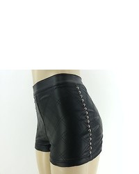 Nwt high waisted faux leather studs shorts pleather hot mini black medium 322399