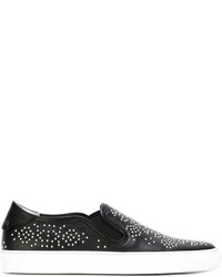 Black Studded Leather Slip-on Sneakers
