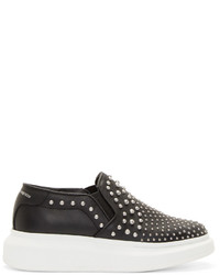 Alexander McQueen Black Studded Platform Slip On Sneakers