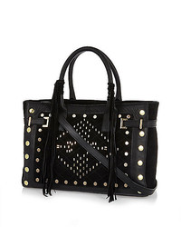River Island Black Leather Stud Fringed Tote Bag