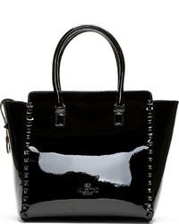 Valentino Black Patent Leather Studded Tze Tote