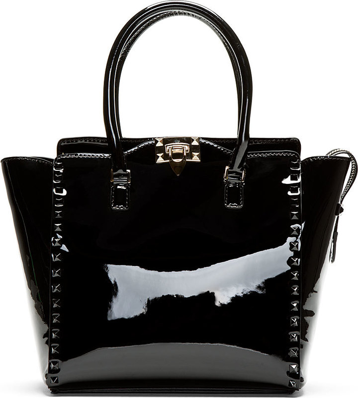 20b11d6fe6d44 Valentino Black Patent Leather Studded Trapeze Tote