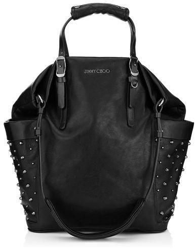 20681bcfb3c Jimmy Choo Blare Black Leather Tote Bag With Gunmetal Studs, $1,950 ...