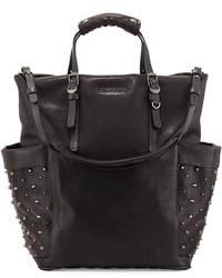 Jimmy Choo Blare Studded Glossy Leather Tote Bag Black