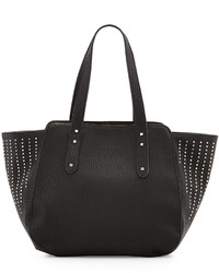 Neiman Marcus Faux Leather Studded Tote Bag Black
